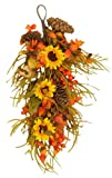 Your Hearts Delight Sunflowers Berries and Cones Teardrop, 12 by 30-Inch