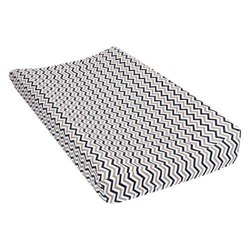 Trend Lab Chevron Deluxe Flannel Changing Pad Cover, Navy and Gray