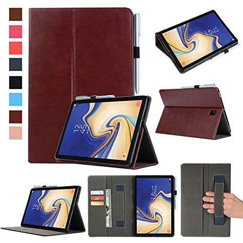 Price comparison product image Case for Samsung Galaxy Tab S4 10.5 2018 with Pen Holder,Premium PU Leather Case Auto Sleep/Wake Case Slim Fit Cover with Pencil Holder Tablet Smart Stand Case with Card Slot and Hand Strap