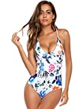 Ekouaer Womens One Piece Beachwear (White Flower, Large=US 10-12)