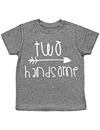 Second Birthday Shirt Two Handsome 2nd Tee Heather Gray 2T