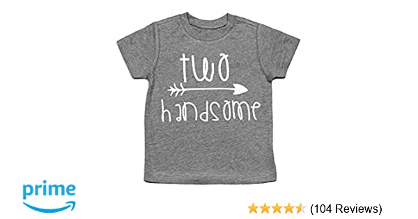 015e029cd7355 Second Birthday Shirt Two Handsome Shirt 2nd Birthday Tee (Heather Gray, 2T)