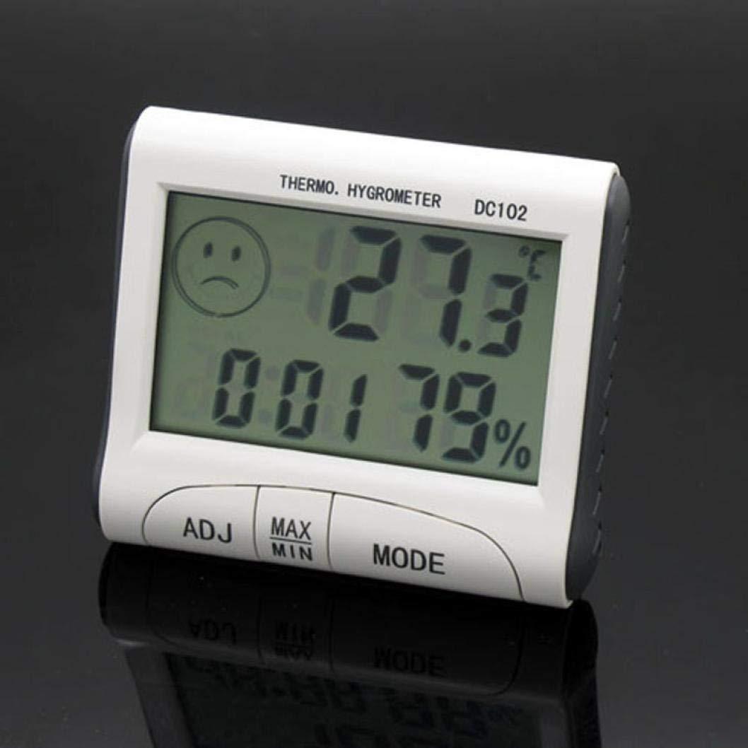 Ogquaton Hygrom/ètre de qualit/é sup/érieure Thermom/ètre DC102 Affichage LCD Thermom/ètre Humidit/é Temp/érature Hygrom/ètre Compteur Horloge