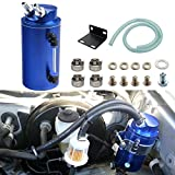#4: Dewhel Universal Cylindrical JDM 750ml Aluminum Engine Oil Catch Can Reservoir Tank (Blue)