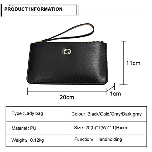 Purse Thin Wristlet Strap Kukoo Ultra Women Gold Wallet Clutch Holder Zipper Wrist Phone x0U1Fqx