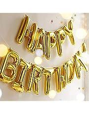لافتة بالونات عيد ميلاد سعيد، بالونات فويل من اوتجيك بالونات على شكل حروف، بالونات مايلار لتزيين حفلات اعياد الميلاد، لون ذهبي