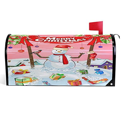 ROSSLELL Xmas Bow Banners Snowman Mailbox Cover Snow Mailbox Covers Magnetic Mailbox Wraps Post Letter Box Cover Large Size 25.5