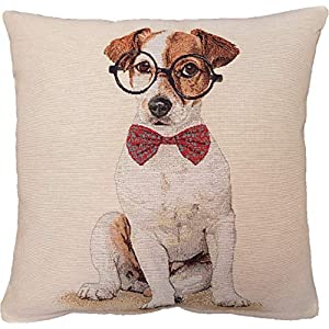 Tapestry Throw Pillow Cover with Woven Dog Image - 18 x 18 in Decorative Cushion Case with Hidden Zipper for Home Decor, Couch, Sofa - Jack Russel Terrier Glasses 1