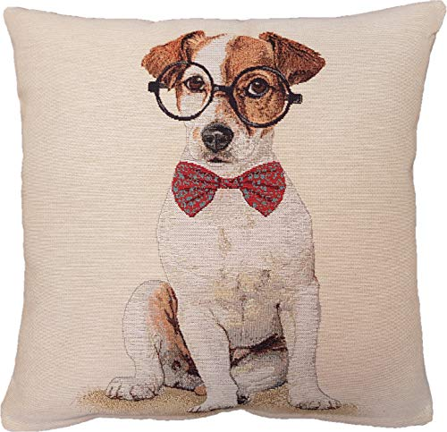 Amber Textile Dog Tapestry Throw Pillow Covers Cases Decorative Cushion Covers Pillowcase Cushion Case for Sofa, Couch.18 x18 Inches - Jack Russell Terrier Glasses (Dog Tapestry Pillow)