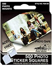 Pioneer PSM500 Photo Squares Self Adhesive, 500/Pkg, White, 1/2-Inch