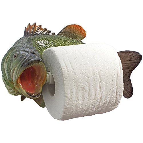 (STREAMLINE INC Largemouth Bass Toilet Paper Holder - Scuplted Stone Resin For Rustic Décor)