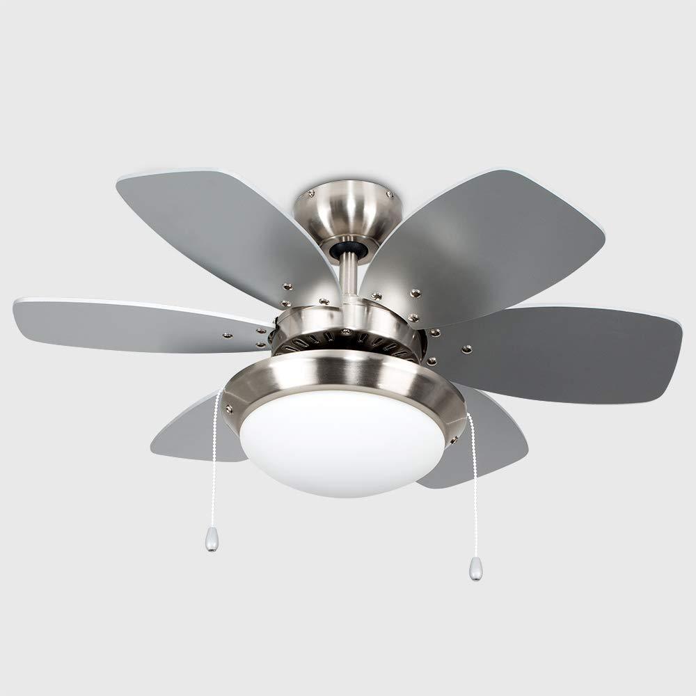 Minisun Chrome 30 Modern Ceiling Fan With Light Reversible Blades