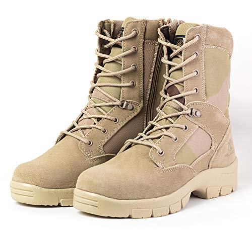 4LAND Military Boots Side Zip Man -Men's Light Tactical Boots Durable Hiking Boots Military Desert Boots (Best Military Hiking Boots)