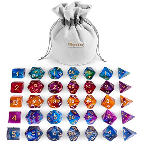 (iBaseToy DND Dice Set, Polyhedral 7-Die Dice Set, Role Playing Game Dice Dungeons Dragons, Double Colors D&D Dice Sets Table Games Grey Pouch)