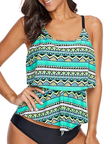 (Womens Sexy Fashion 2018 Flounce Tribal Printed Straps T-Back Push up Tankini Swimsuits for Women Green Small 4 6)