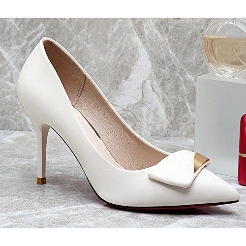 Festa Nero Moda Scarpe Nozze UK 2 di Alti in White Professione Sexy Tacchi Lavoro 34 Scarpe da Donna Corte Pelle Discoteca 9cm ztwOqdz