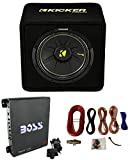 Kicker 44VCWC124 12'' 600W Loaded Car Subwoofer + Enclosure + 1100W Amp + Amp Kit