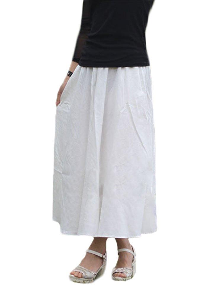Soojun Women's Solid Cotton Linen Retro Vintage A-line Long Maxi Skirts White Length 80cm