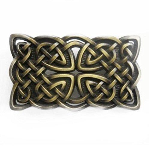 Irish Celtic Cross and Knot Belt Buckle Bronze
