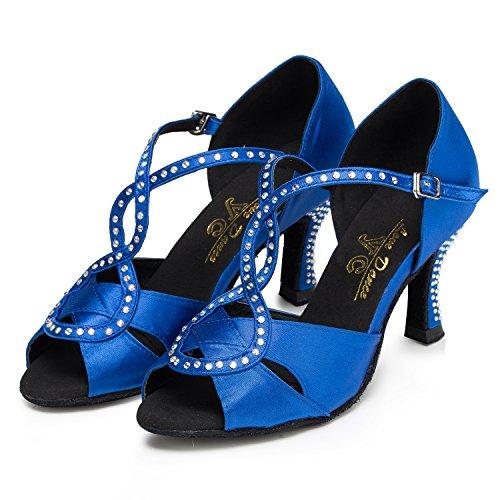 hot sale online 5fb80 28435 Crc Femmes Élégant Peep Toe Sparkle Strass Satin Salle De Bal Morden Tango  Parti De Mariage