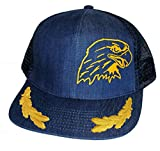 Bald Eagle Captain's Denim Mesh Trucker Hat Cap Gold Leaf Snapback
