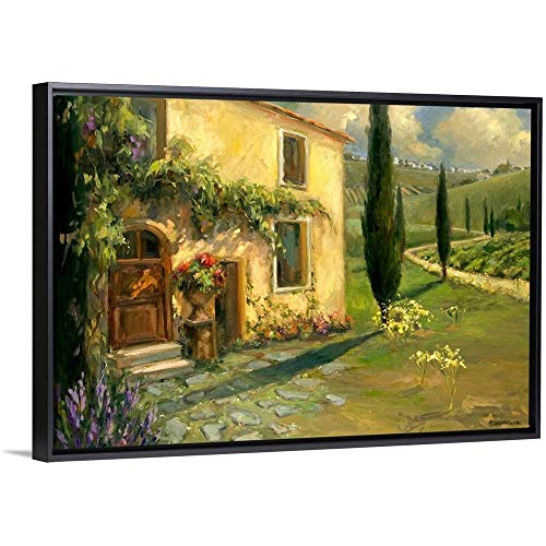 (Allayn Stevens Floating Frame Premium Canvas with Black Frame Wall Art Print Entitled Tuscan Spring 48