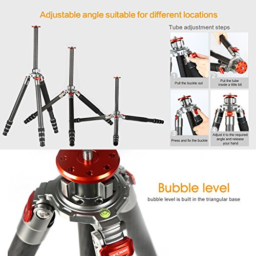 K&f Concept Carbon Fiber Camera Tripod 4 Section 61 Inch with Load Capacity 26.46lbs Monopod for Camera DSLR DV Canon Nikon Sony by K&F Concept (Image #1)