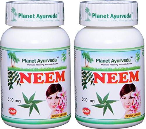 Planet Ayurveda Neem, 500 Mg Veg Capsules, 2 Bottles by Planet Ayurveda