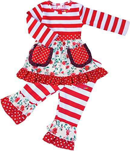 Flower Child Outfit (Angeline Boutique Clothing Girls Valentine Spring Flowers Ruffles Pant Set Red Stripes 6/2XL)