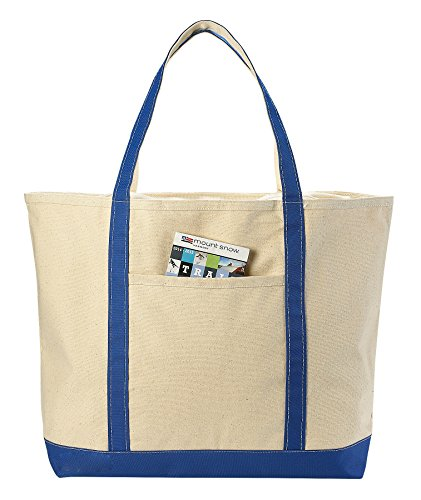 Canvas Tote Beach Bag - These Large Bags Are Strong Enough to Carry Beach Gear and Wet Towels. Front Pocket, Zippered Top Closure and Shoulder Straps for Easy Carrying. (Royal (Closure Front Pocket)