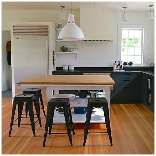 Kitchen Devoko Metal Bar Stools 24″ Indoor Outdoor Stackable Barstools Modern Style Industrial Vintage Counter Bar Stools Set of 4 (Black) modern barstools