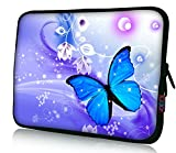 iColor 15' Laptop Handle Sleeve Bag Neoprene 14.5' 15.4' 15.6' inch Neoprene Netbook Computer Tablet PC Handle Case Carrying Cover Pouch Holder Protection-Blue Butterfly