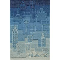 Momeni Rugs LMOTWLMT11BLU3050 Lil' Mo Hipster Collection, Kids Themed Hand Carved & Tufted Area Rug, 3' x 5', Blue