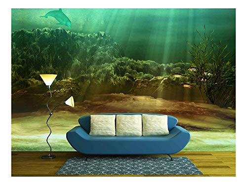 Dolphin Wallpaper Mural - wall26 - an Underwater Landscape with Fishes and Dolphin - Removable Wall Mural | Self-adhesive Large Wallpaper - 100x144 inches