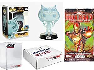 Funko Pop! LA Comic Con Star Wars Rebels Ahsoka Glow In The Dark, Limited Edition Exclusive. Iron Man 3 Marvel Cards Pack & Concierge Collectors Bundle