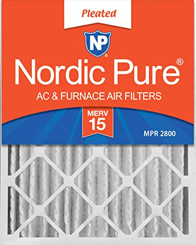 Nordic Pure 16x20x4 (3-5/8 Actual Depth) MERV 15 Pleated AC Furnace Air Filters, 1 Pack ()