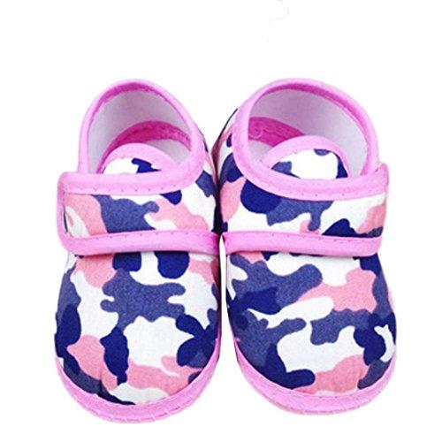 Tefamore Zapatos Bebe De Primeros Pasos Calzado De Estilo Camuflaje Pequeñas Botas Para Primeros Caminantes(Colores Opcional) rosa