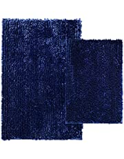 Comfy Soft 2 Piece Butter Chenille Bath Mat Rug Set, 31x20+24x16 Inch Shiny Noodle Bathroom Mats Rugs with Non Slip Backing, Super Water Absorbent Machine Washable, Navy Blue