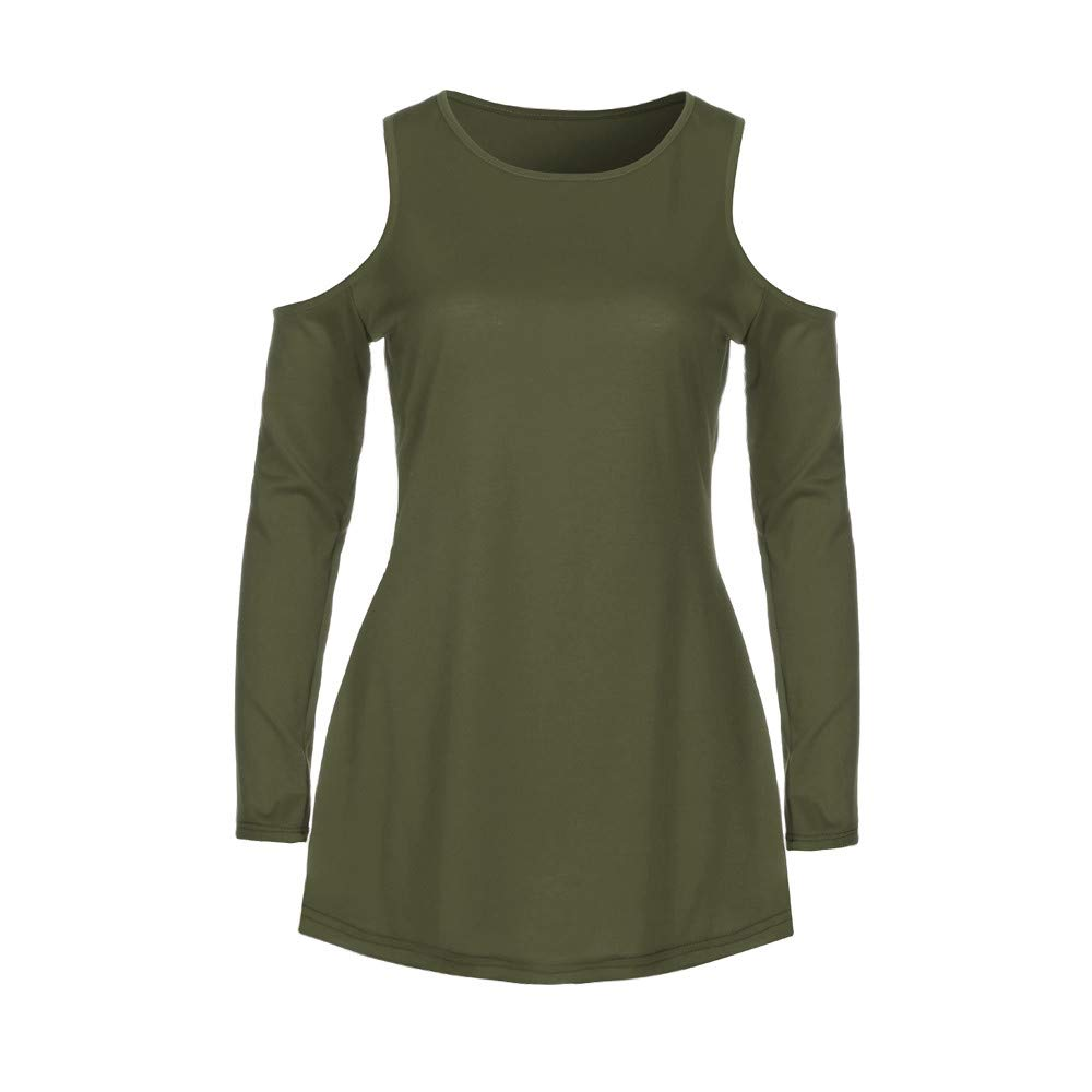 YAliDa 2019 clearance sale Women Casual Off Shoulder Round Neck Dress Ladies Long Sleeve Mini Dress GN/S(Small,Green)