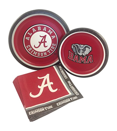 University of Alabama Party Supply Pack! Bundle Includes Paper Plates & Napkins for 8 Guests -
