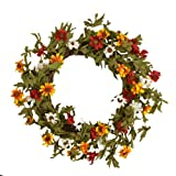 Your Heart's Delight Twig and Autumn Wildflowers Wreath, 17-Inch For Sale