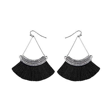 9aca3ae15 Tassel Earrings Bohemian Fan Shape Dangle Retro Style Metal Willow Fashion  Simple Jewelry (Black)