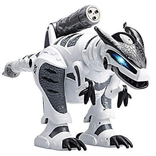 ICDOT Intelligent Remote Control Dinosaur Electronic Programmable Interactive Robotic Dino Toy with Lights and Sounds,Rotation Stunt,Missile Launchers (Color : White)