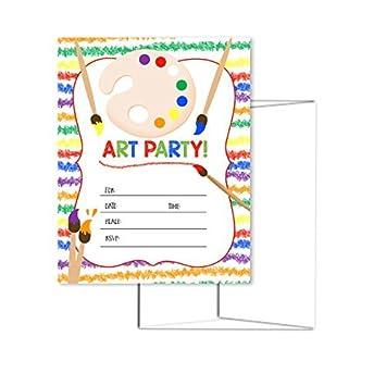 amazon com art party kids birthday invitations fill in the blank