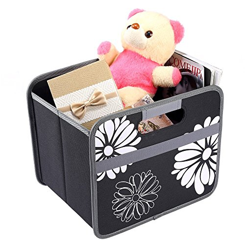 Foldable Storage Cube Basket Box - MYKEA 15 Liter / 4 Gallon, Storage for Car, Office,Picnic and Home, in Lava Black With Flowers To Organize and Carry Up To 65lbs
