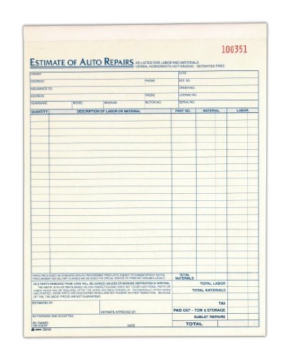 Auto Body Repair Cost Estimator: Auto Repair Estimate Book, 2-Part, Carbonless, 8.38 X 10