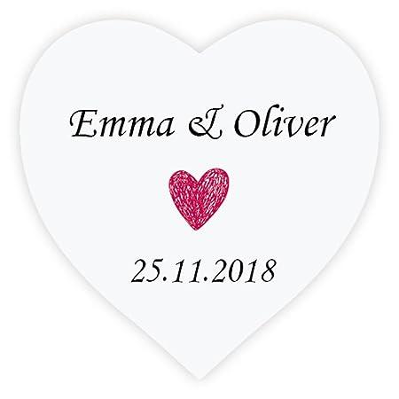 Ekunstreet 48x personalised 38mm ruby red wedding favour stickersfavour love heart sticker
