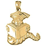 10K Yellow Gold Book Worm Pendant - 30 mm