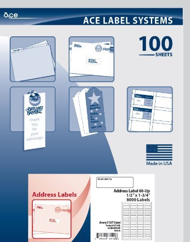 ace label mailing labels for laser and inkjet printer 1 75x 05 inch