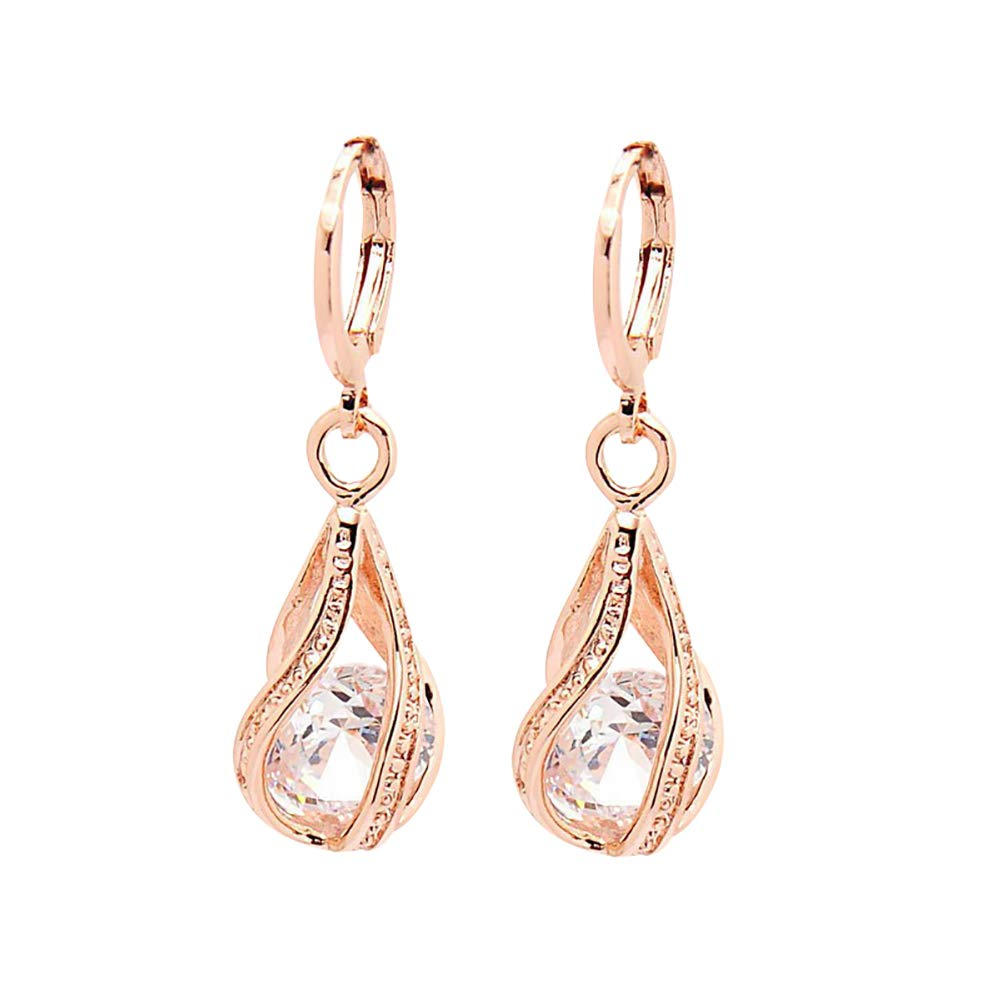 Women Fashion Cubic Zirconia Water Drop Dangle Leaverback Earrings Jewelry Gift - White